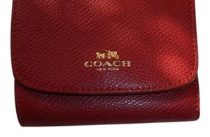 Coach Coach True Red Crossgrain Leather Small Wallet NWT