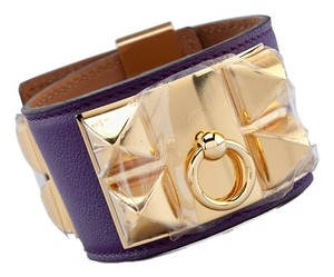 Hermès Below $1360 Retail Hermes Purple Collier de Chien CDC Ultraviolet Leather Cuff Bracelet Chic