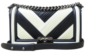 Chanel Like New Medium Le Boy Black&white Shoulder Bag