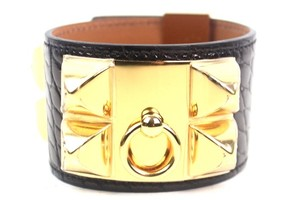 Hermès Collier De Chien Black Crocodile Bracelet New S