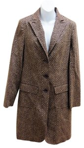 Max Studio Retro Style Patterned 3 Button Trench Coat