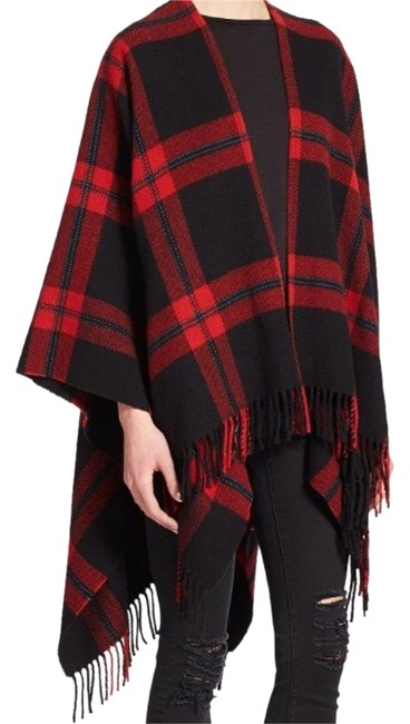 Item - Black & Red Wool Plaid Poncho/Cape Size OS (one size)
