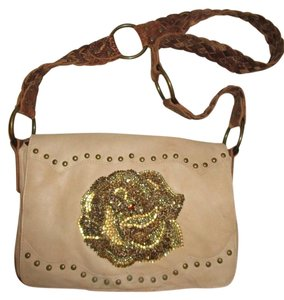 Betsey Johnson Studded Leather Beaded Rose Cross Body Bag