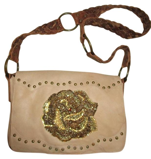 Item - Studded Tan & Brown Leather Cross Body Bag