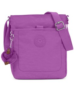 Kipling Floral Flower Print Bloom Satchel in violet purple