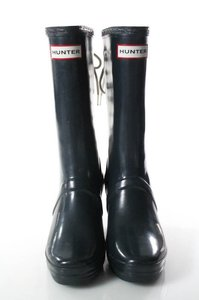 Hunter Wedge Laceup Navy Blue Boots