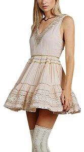 Free People short dress Pink Metallic Cocktail Swingy Mini Boho New Embellished Sequin Party Embroidered on Tradesy