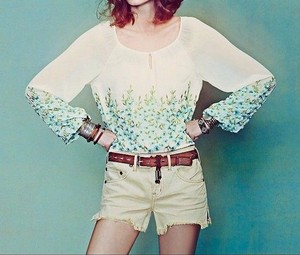 Free People Embroidered Floral Top Ivory, Green Multi