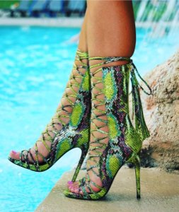 Nelly Bernal Green Multi Boots
