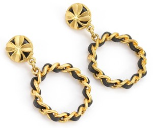Chanel CHANEL 94C Gold Chain Black Leather 4 LEAF CLOVER Hoop Earrings ClipOn