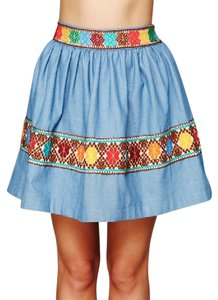 Free People Carolina K For Fp Around The Mulberry Chambray Flare Mini Denim Classic Swingy Fit N Flare Mini Skirt Blue