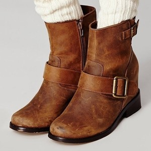 Jeffrey Campbell Bohemian Leather Distressed Brown Boots