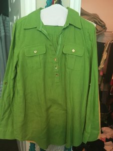Jones New York Top Green, gold buttons, polka dotted in lay around collar area