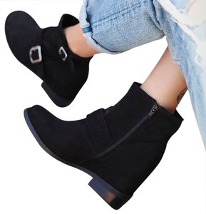 Jeffrey Campbell Bohemian Classic Suede Lined Wedges Zip Closure Sleek Chic Boho Silver Hardware Black Boots