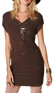 Free People short dress Brown Autumn Garden Textured Layering Staple Ribbed Chic Classic Boho on Tradesy