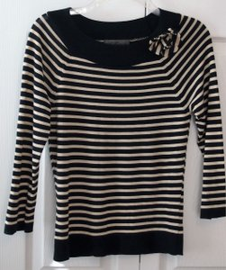 Les Copains Striped White Italian Top blue