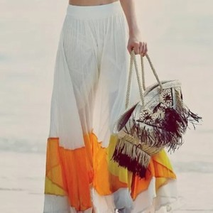 Free People Maxi Skirt Ivory Multi