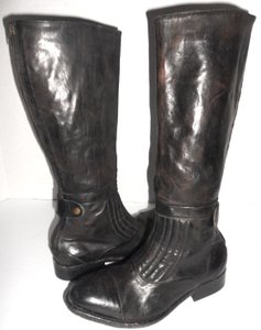 Free People Knee High Riding Zipper Made In Portugal Black Washed/Distressed Boots