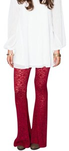 Show Me Your Mumu Boho Lace Stretchy Chic Bam Bam Bells Burgundy Tapestry Festival Lounge Flare Pants Red