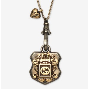 Gucci GUCCI Sterling Silver GG LOGO CREST GOLD FINISHED Unisex NECKLACE