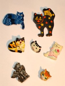 Other Cat Lady Pin Collection 7 Pc Brooches One Vintage Hallmark Cards Pin
