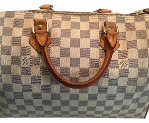 Louis Vuitton Satchel in Beige/Blue