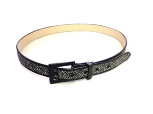 Talbots Talbots Black and White Wool Tweed Leather Belt - Size Large