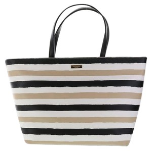 Kate Spade Grainy Vinyl Grant Street Jules Tote in Cream Black Beige