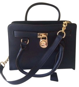 Michael Kors Satchel in NAVY WITH GOLDTONE ACCENTS/CHAIN DETAIL