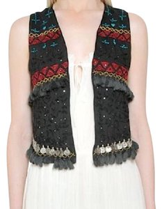 Mes Demoiselles Bohemian Festival Embellished Coin High Low Cropped Vest