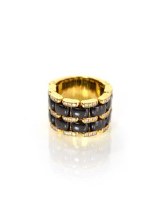 Chanel Chanel 18k Large/Wide Gold & Black Ceramic Ultra Ring w/ Diamonds Sz 7