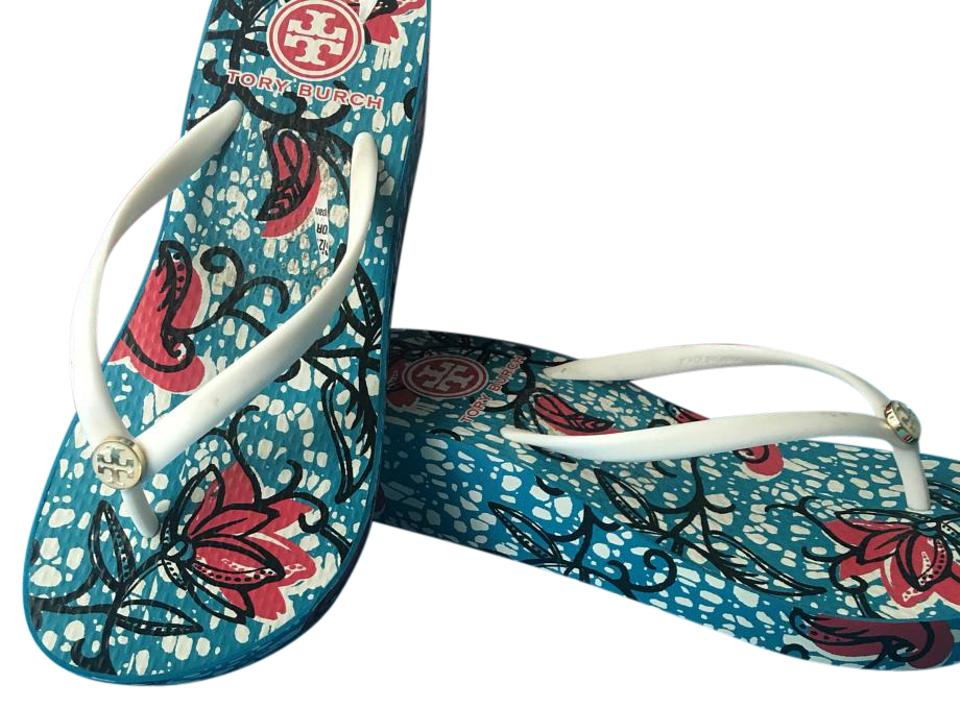 Tory Burch Blue Red Pink Sandals White Sandals Pink 2671cb