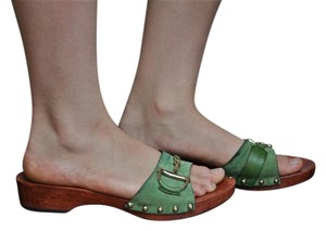 Gucci Horsebit Suede Wood Green Sandals