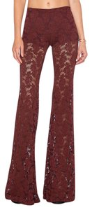 Nightcap Clothing Wallflower Lace Stretchy Wine Long Flare Pants Red