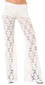 Nightcap Clothing Lace Bell Wallflower Stretchy Chic Long Flare Pants Ivory