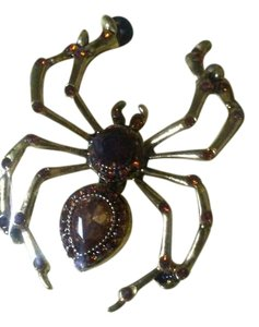 Gold Alloy Spider Pin/Brooch With Amber and Brown Stones