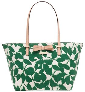 Kate Spade Handbag Francis Wkru3145 Linen Tote in White & Green (307)