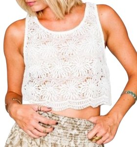 Show Me Your Mumu Floral Bohemian Swing Cropped Lace Top Ivory