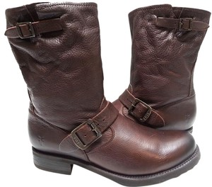 Frye Leather Upper. Features Buckles Brown Boots