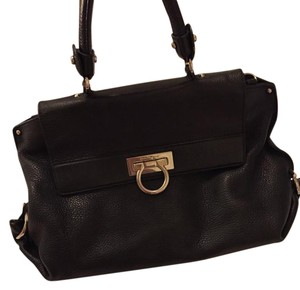 Salvatore Ferragamo Slouchy Flap Satchel in Black