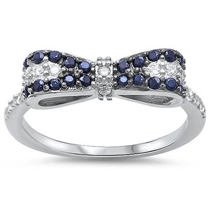 9.2.5 cute black and white sapphire bow ring size 6