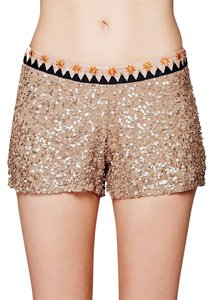 Free People Sequined Party Embroidered Dressy Mini/Short Shorts Gold