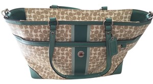 Coach Cream, Green Diaper Bag