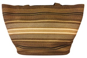 Eric Javits Tote in Multi Stripe Brown/Cream Metallic