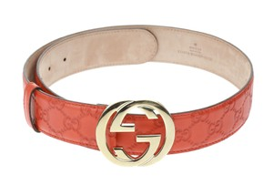 Gucci Red Calfskin Guccissima Interlocking G Buckle Belt