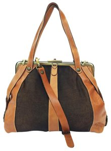 Patricia Nash Designs Convertible Italian Frame Vegetable Leather Satchel in Chocolate/Vegetable Tan
