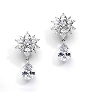 Mariell Ultra Glam Floral A A A Crystal Bridal Earrings
