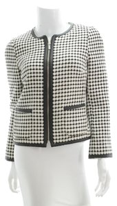 Banana Republic Zipper Leather Trim Faux Leather Black and White Blazer