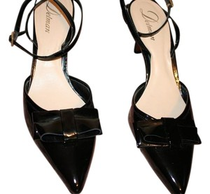 Delman Slingback Leather Black Patent Pumps