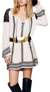 Free People short dress Ivory Multi Embroidered Bohemian Shirt Tunic Long Sleeve on Tradesy